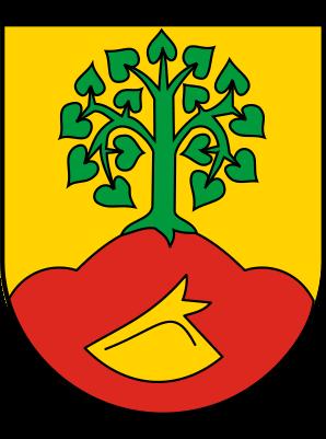 Wappen von Altenberge. roter Dreiberg mit goldener Pflugschar und grünem Lindenbaum. Der Produktionsstandort von Otto Keller Daunenwäsche