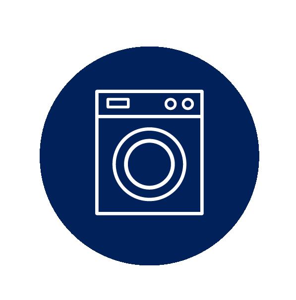 Waschmaschine Icon - Symbolisiert, das die freigegebenen Waren sorgfältig gewaschen und getrocknet werden.