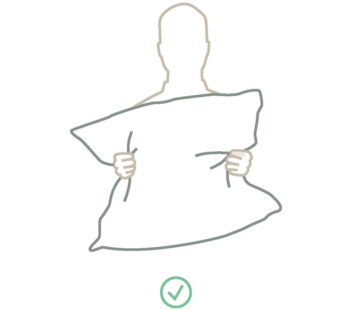 Stilisierte Darstellung zum Kopfkissenaufschütteln bei der Daunenpflege