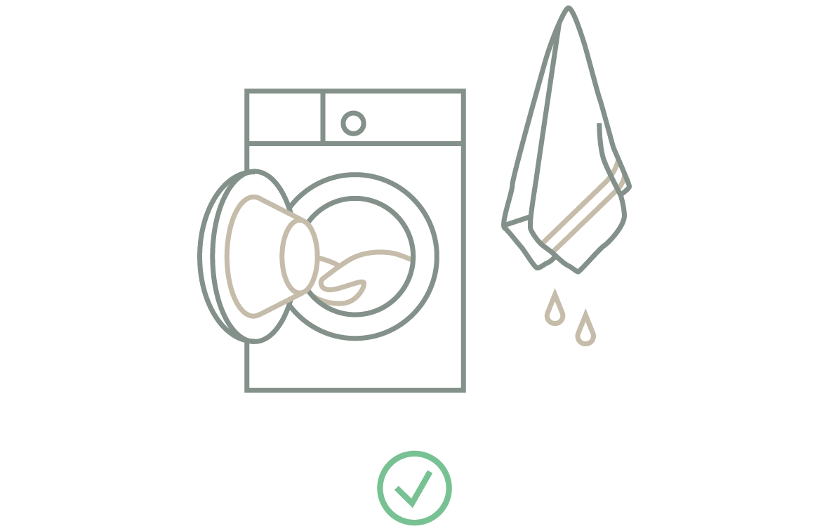 Bei der Daunenpflege ein nasses Handtuch mit in die Waschmaschine geben um das vorzeitige Abschalten des Trockners zu vermeiden.