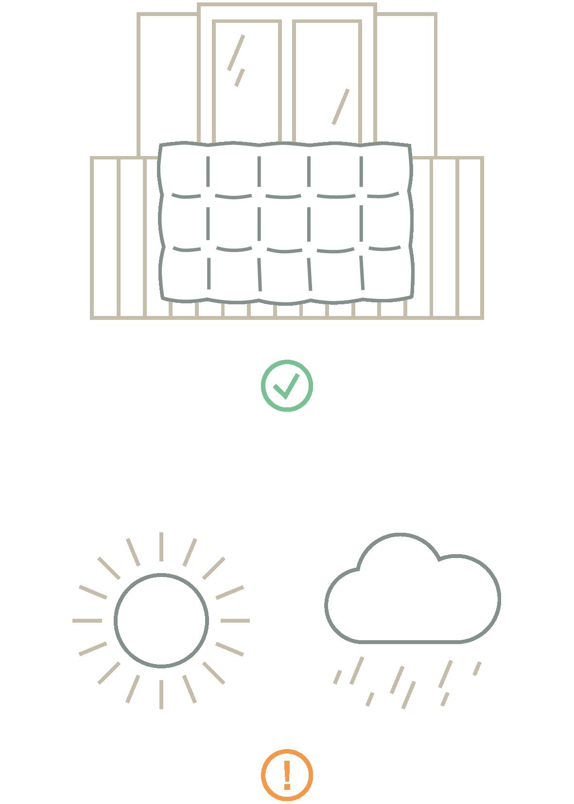 Zur Daunenpflege gehört regelmäßiges und gründliches Lüften der Daunenwäsche. Stilisierte Darstellung
