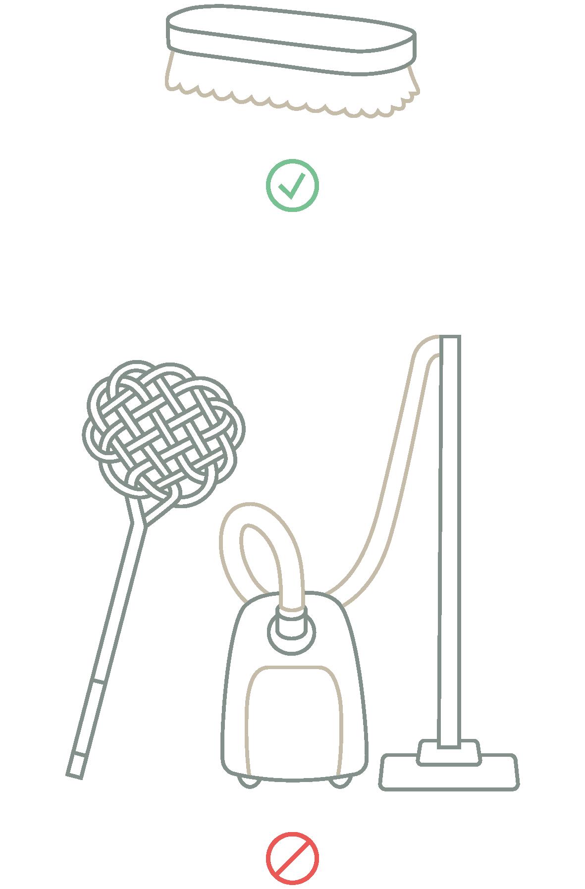 Was ist bei der Pflege von Daunenprodukten erlaubt und was sollte vermieden werden. Weiche Bürsten sind OK. Staubsauger und Teppichklopfer sind zu vermeiden.