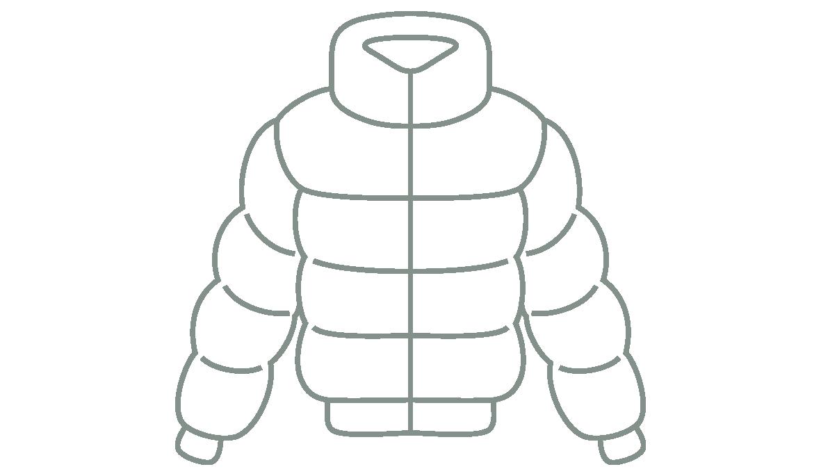 Stilisierte Darstellung einer Daunenjacke