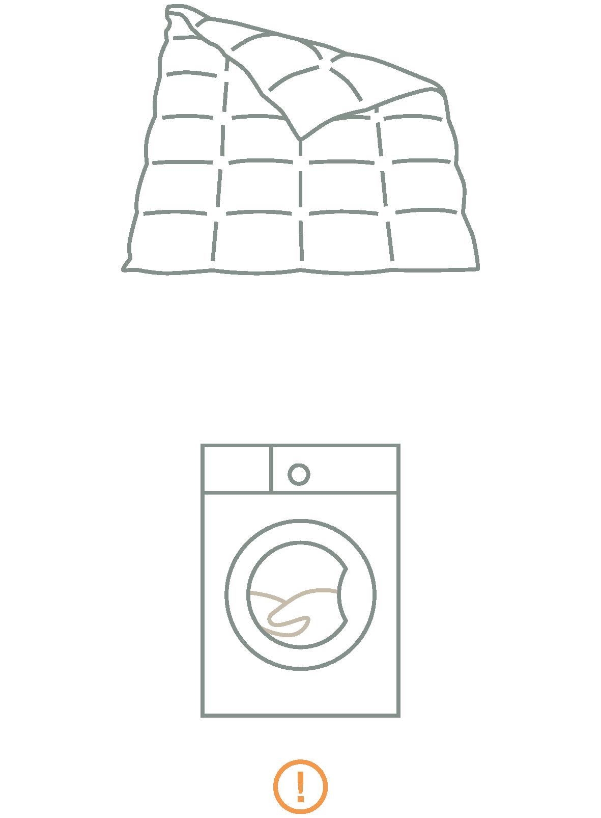 Daunendecke und Waschmaschine als Icons