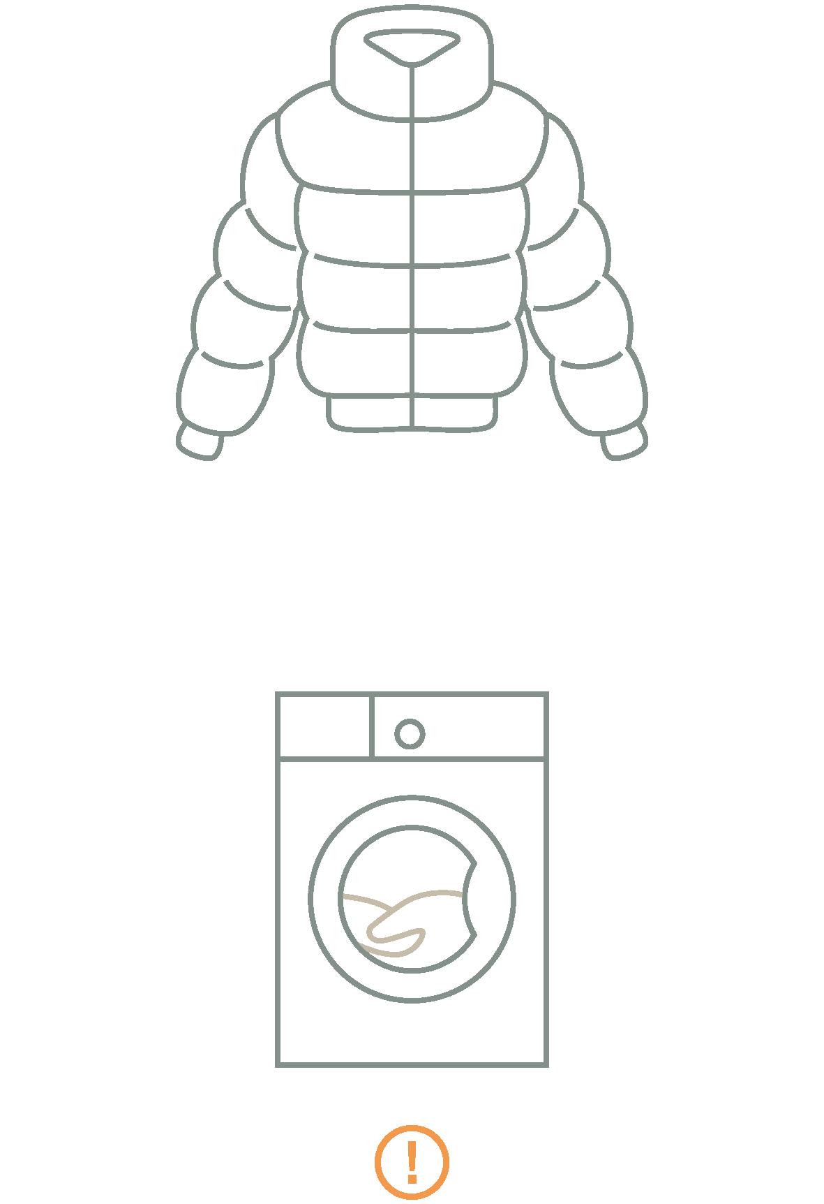 Daunenjacke und Waschmaschine als Icon