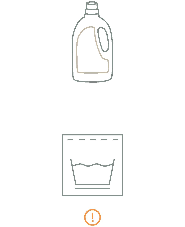 Waschmittelflasche und Pflegeetikett als Icon